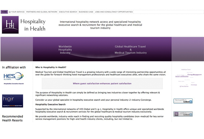 Hospitality in Health website