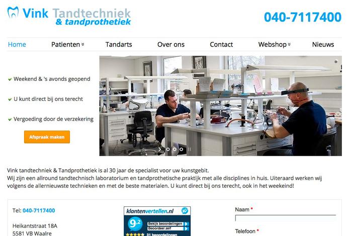 Redesign Vink tandtechniek website